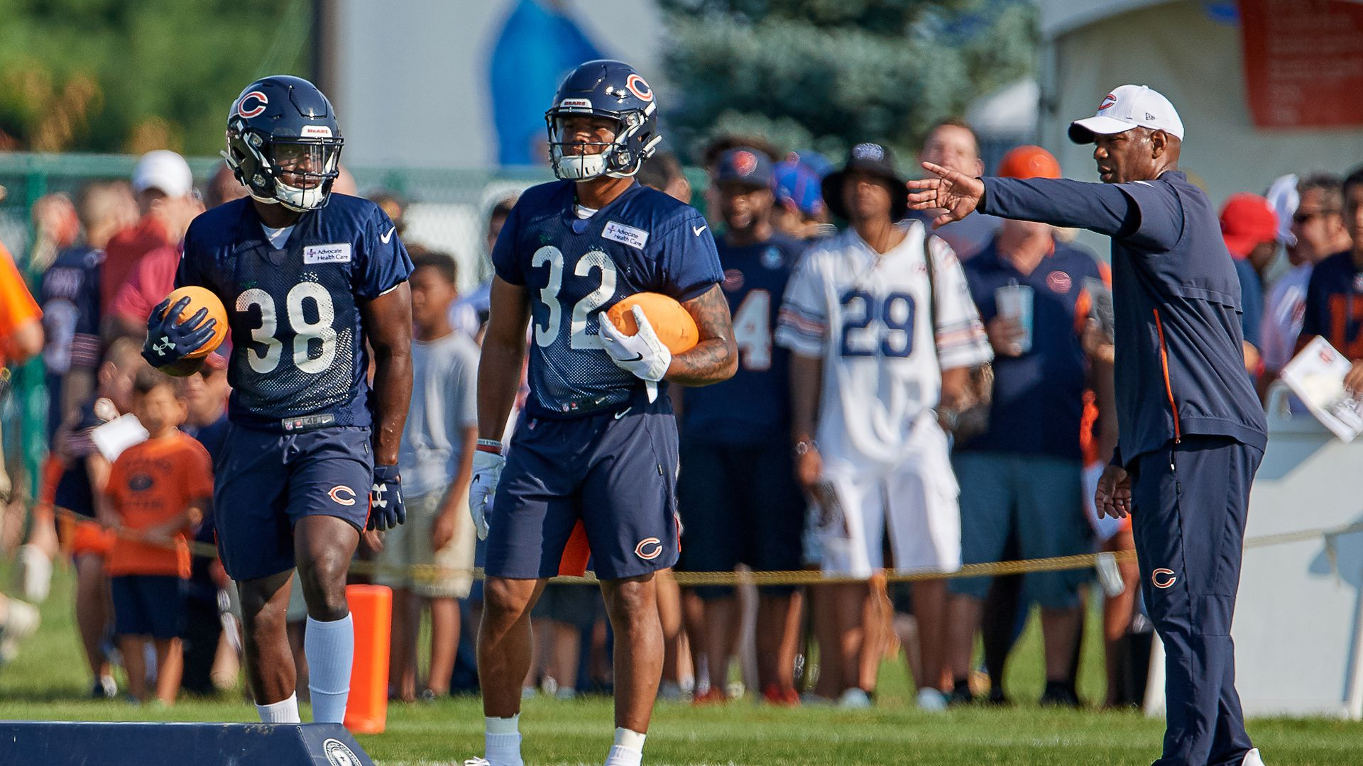 Chicago Bears players at training camp