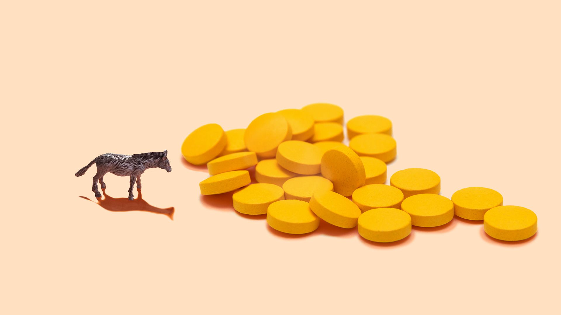 Illustration of a miniature toy donkey next to a large pile of pills