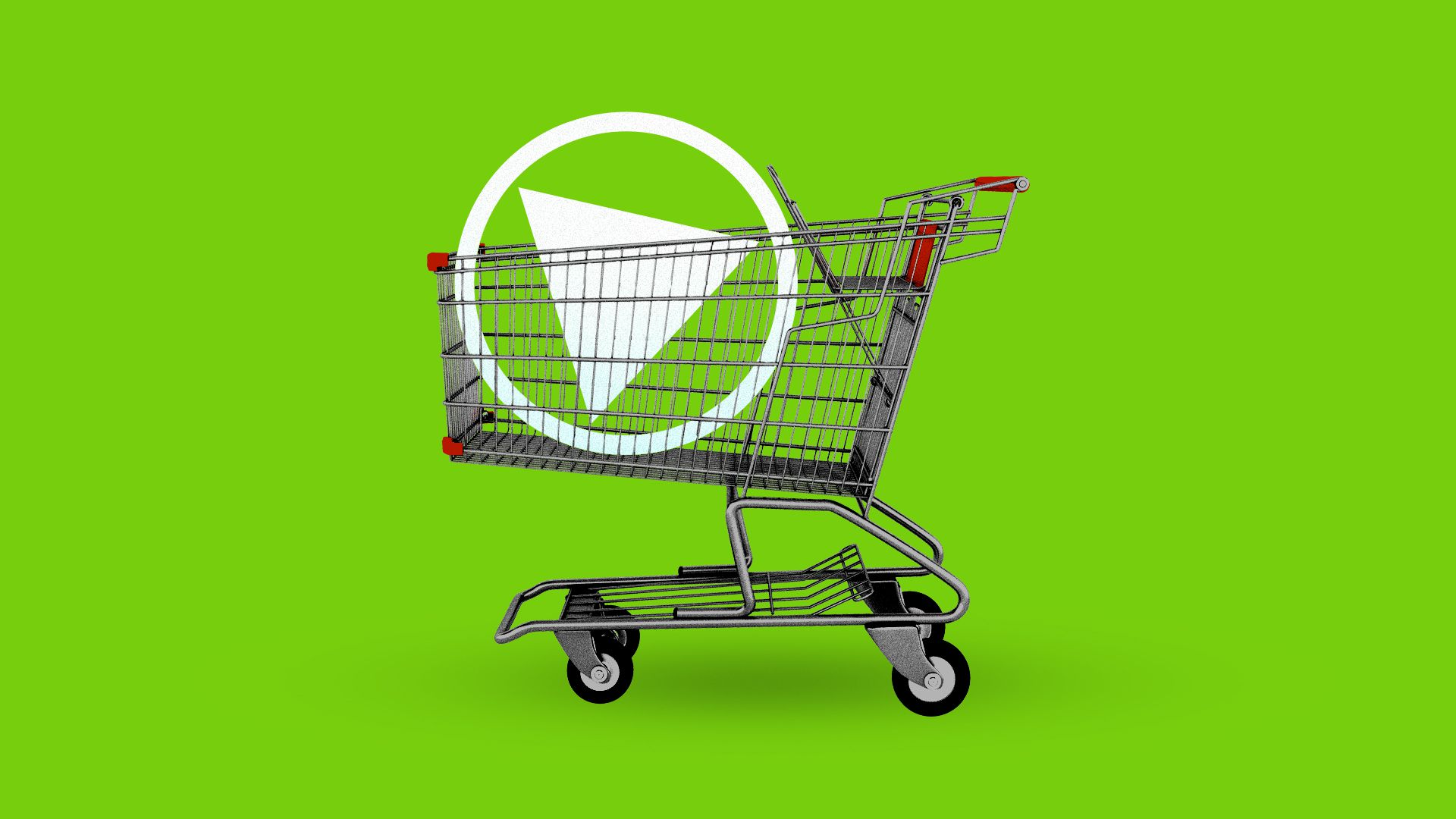 "A shopping cart loaded with a giant ""play"" button like those on web videos"