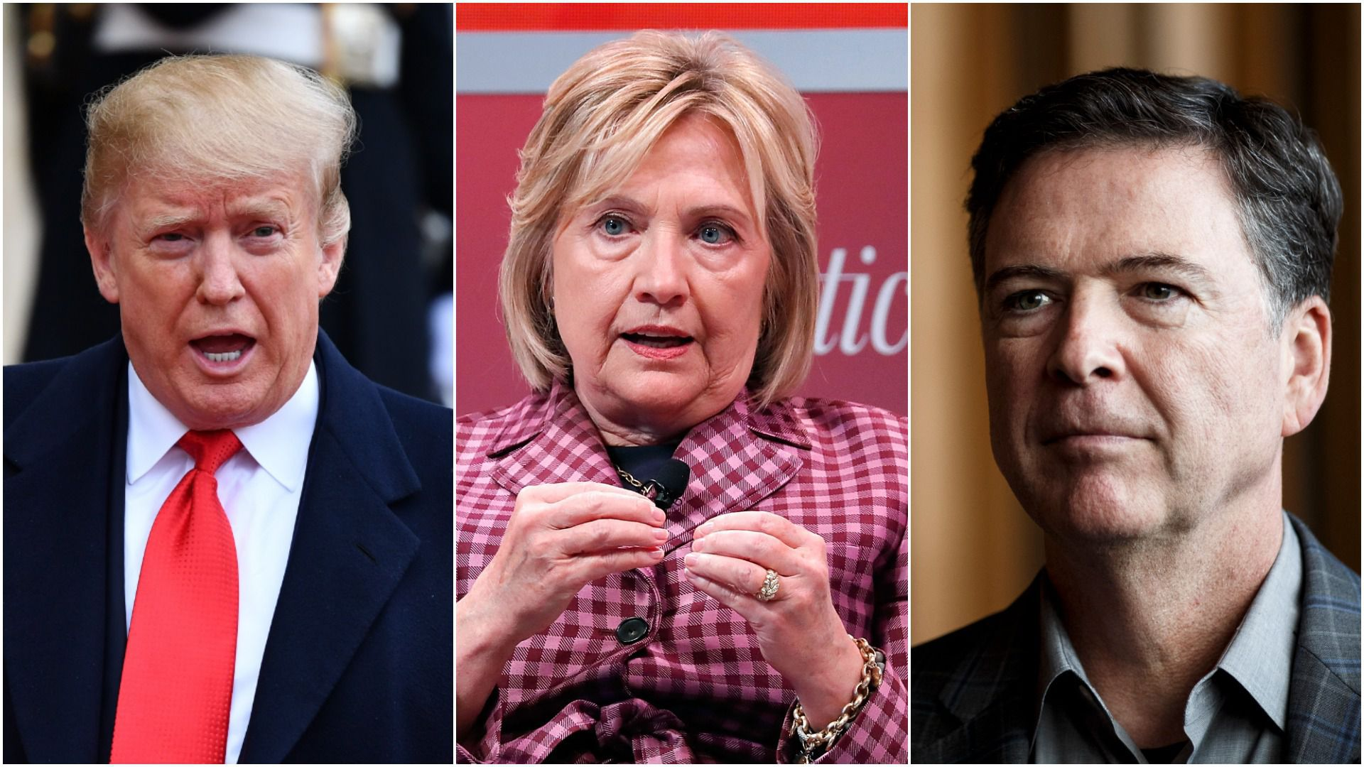 Split picture of Donald Trump, Hillary Clinton and James Comey
