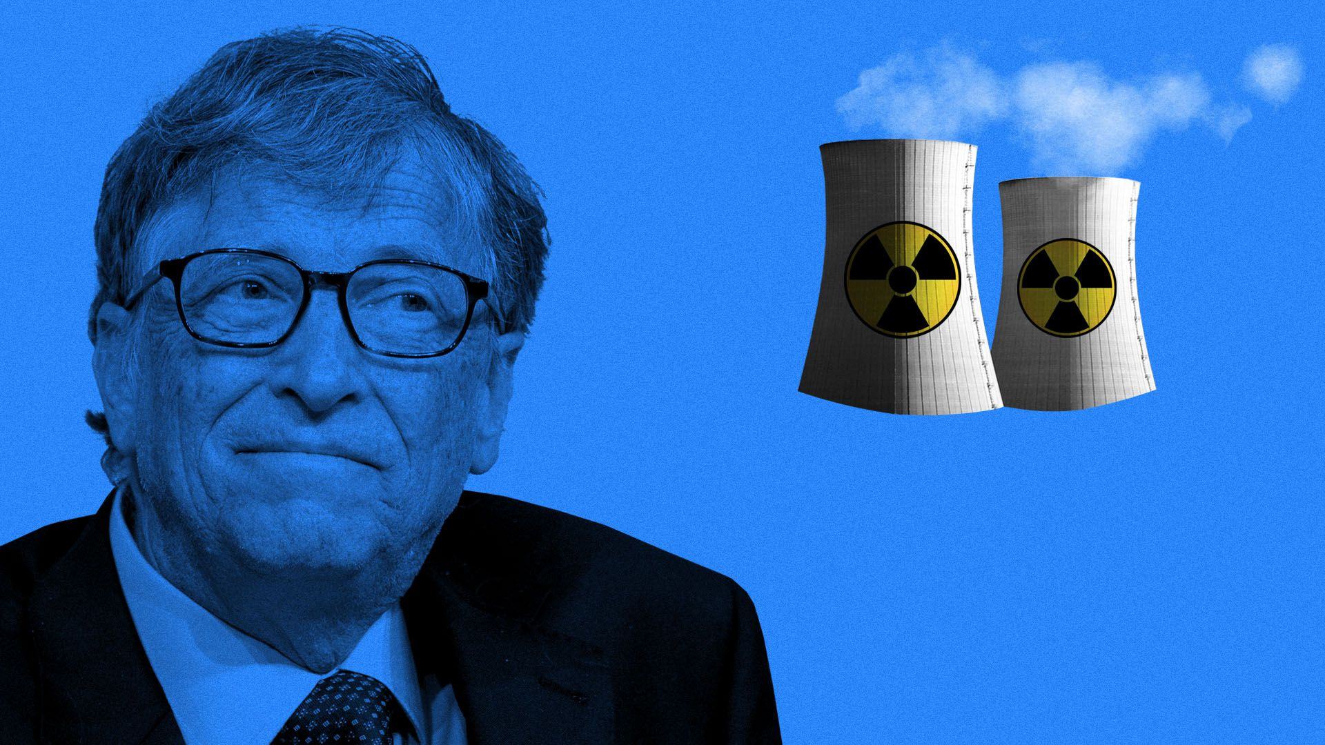 Illustration of Bill Gates considering a small nuclear reactor
