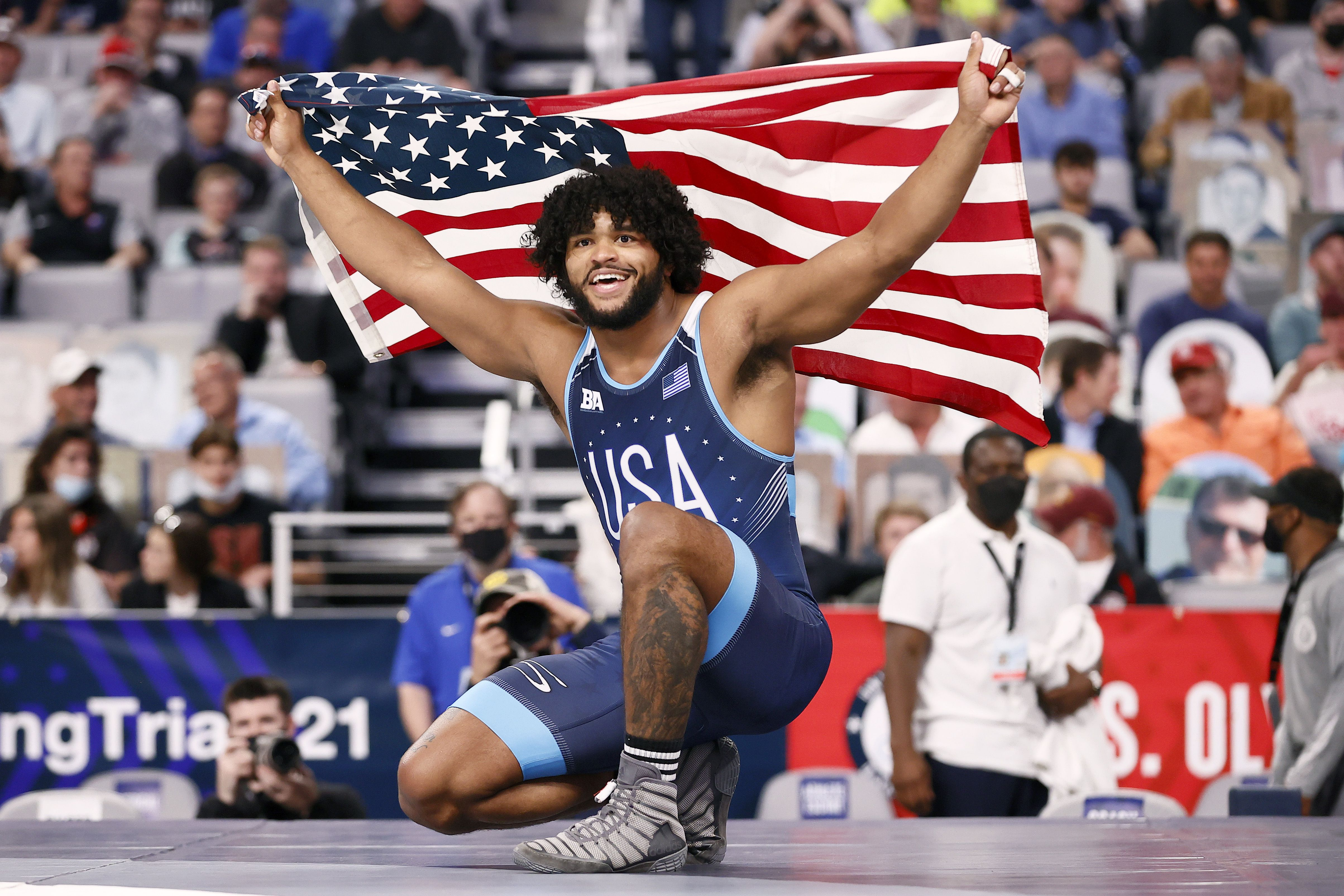 Tracy G'Angelo Hancock celebrates a victory at the U.S. trials in April. Photo: Tom Pennington/Getty Images