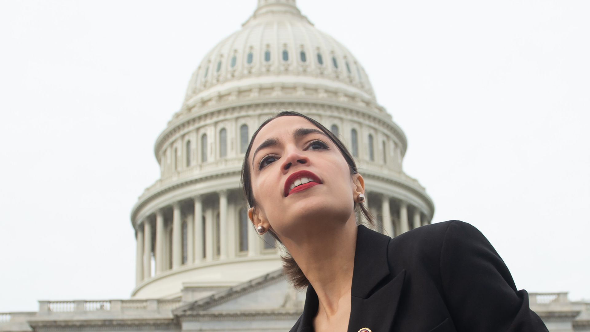 US Representative Alexandria Ocasio-Cortez, Democrat of New York, outside the US Capitol in Washington, DC, January 4.