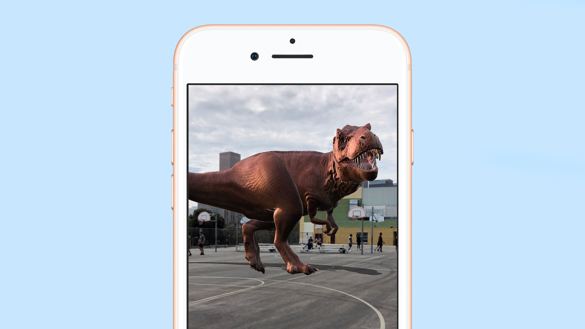 An augmented realty dinosaur on an iPhone