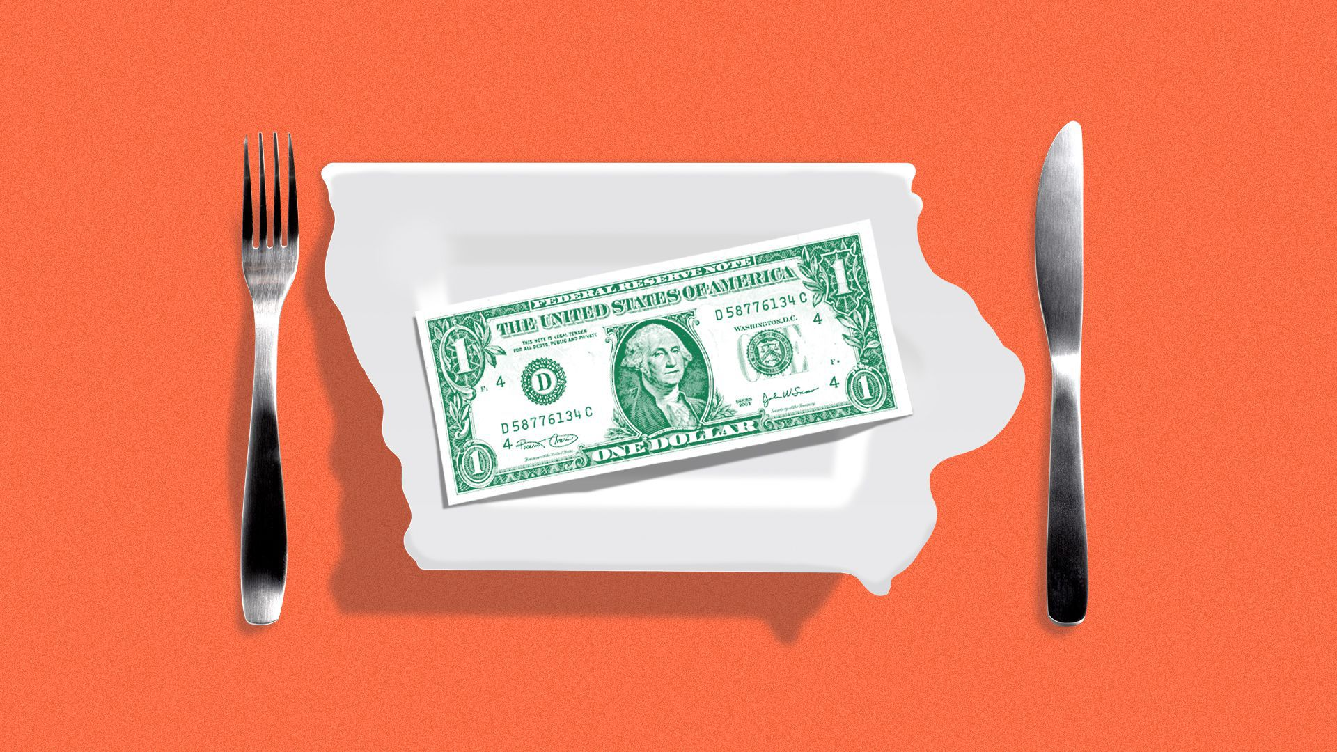 Illustration of a dollar sitting on a plate shaped like the state of Iowa.