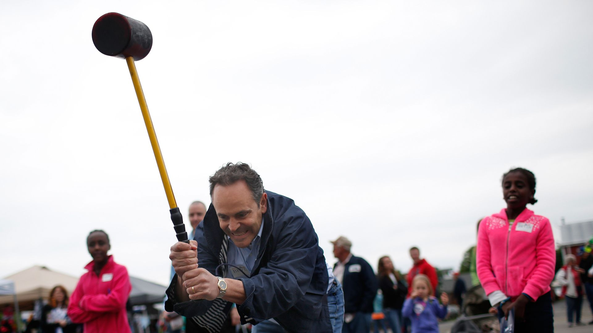 Kentucky Gov. Matt Bevin swings a mallet