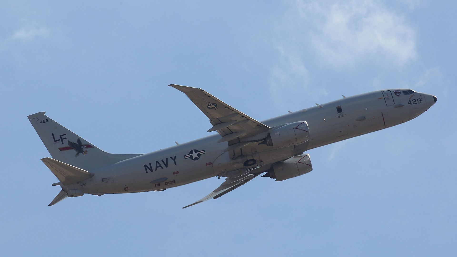 A US Navy P-8A Poseidon departs Perth's International Airport on March 28, 2014 in Perth, Australia.