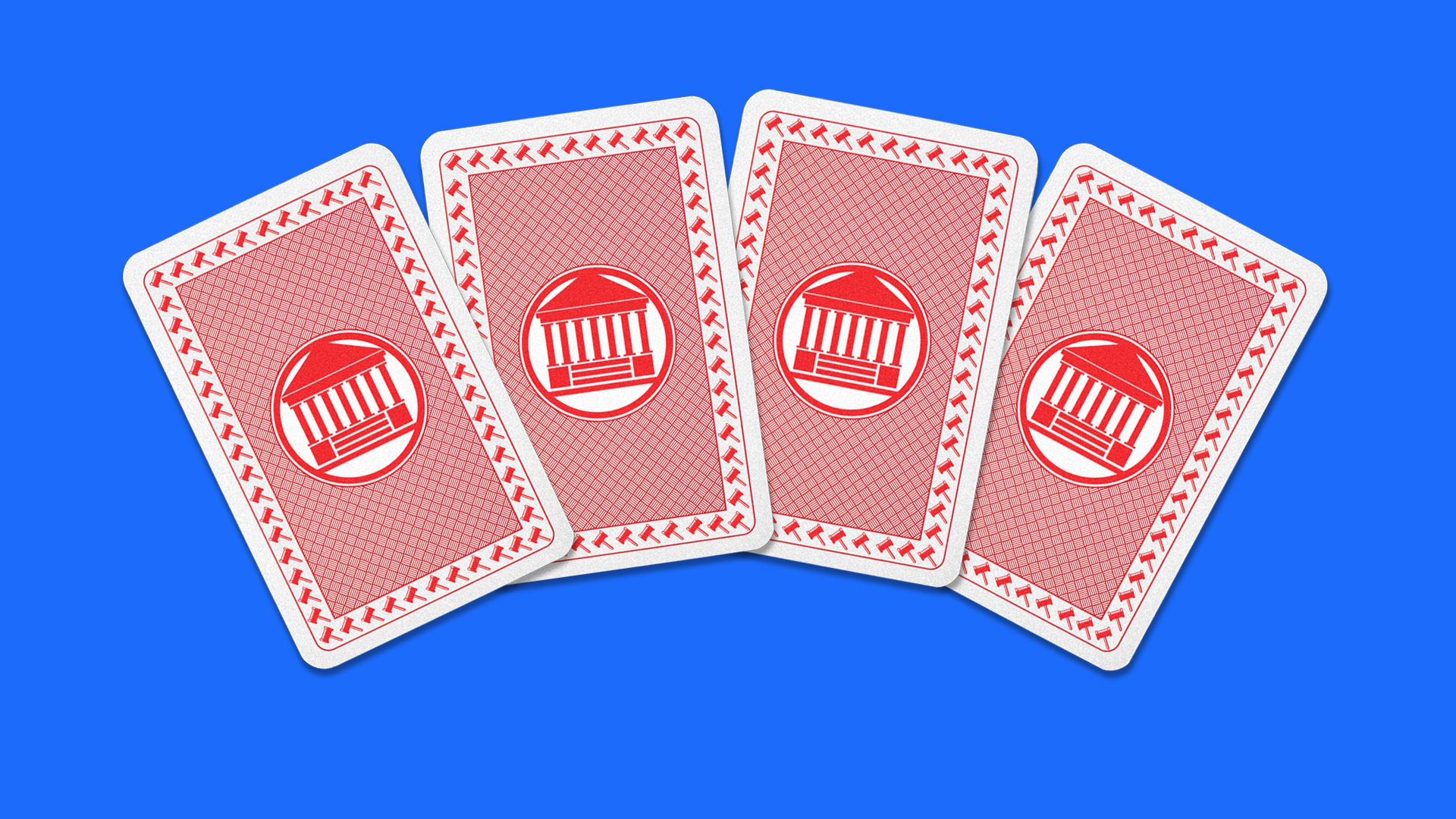 Illustration of 4 cards with the supreme court building shown on them