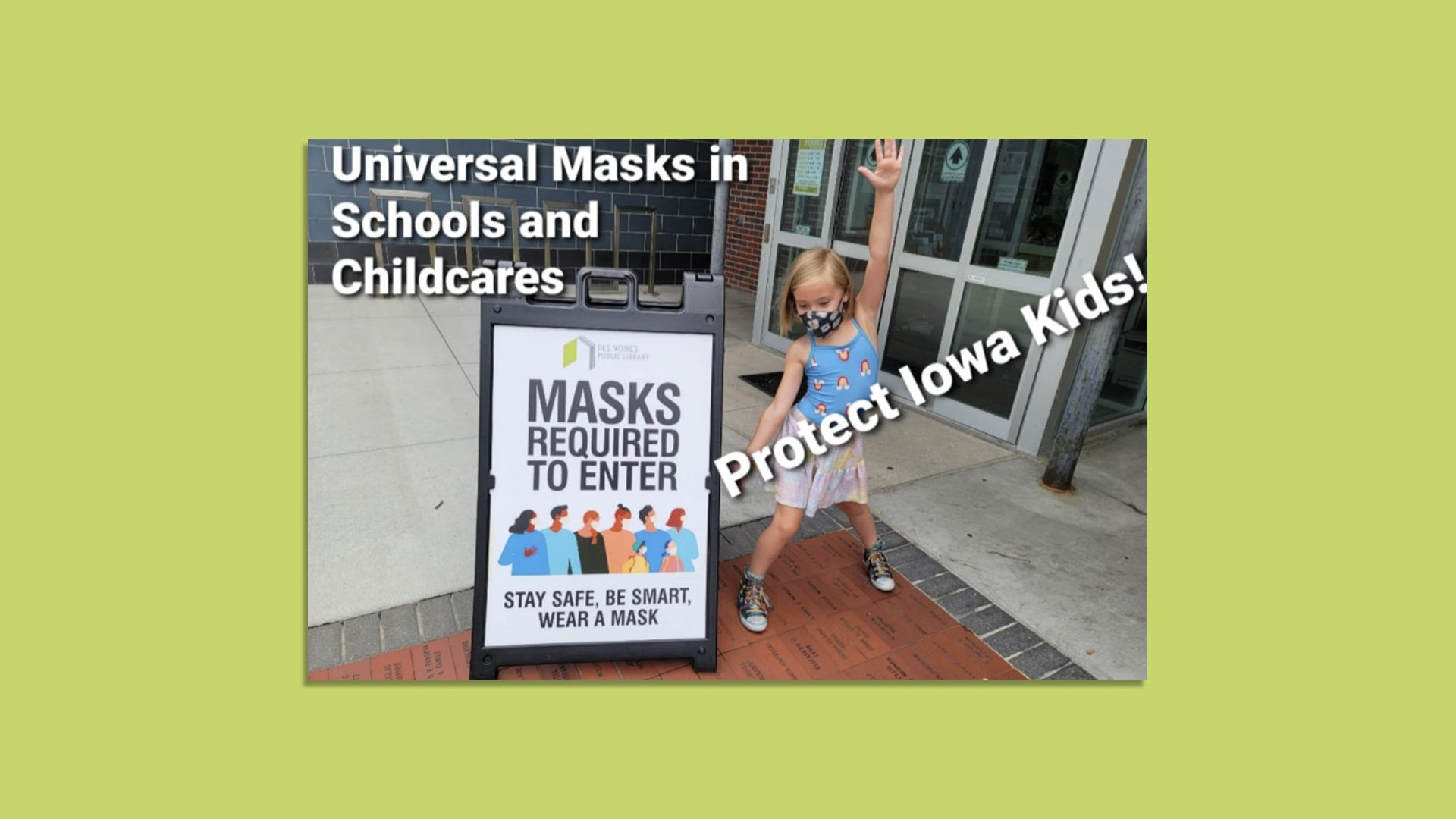 """A photo of a young girl wearing a mask by a sign that says """"Masks required to enter."""""""