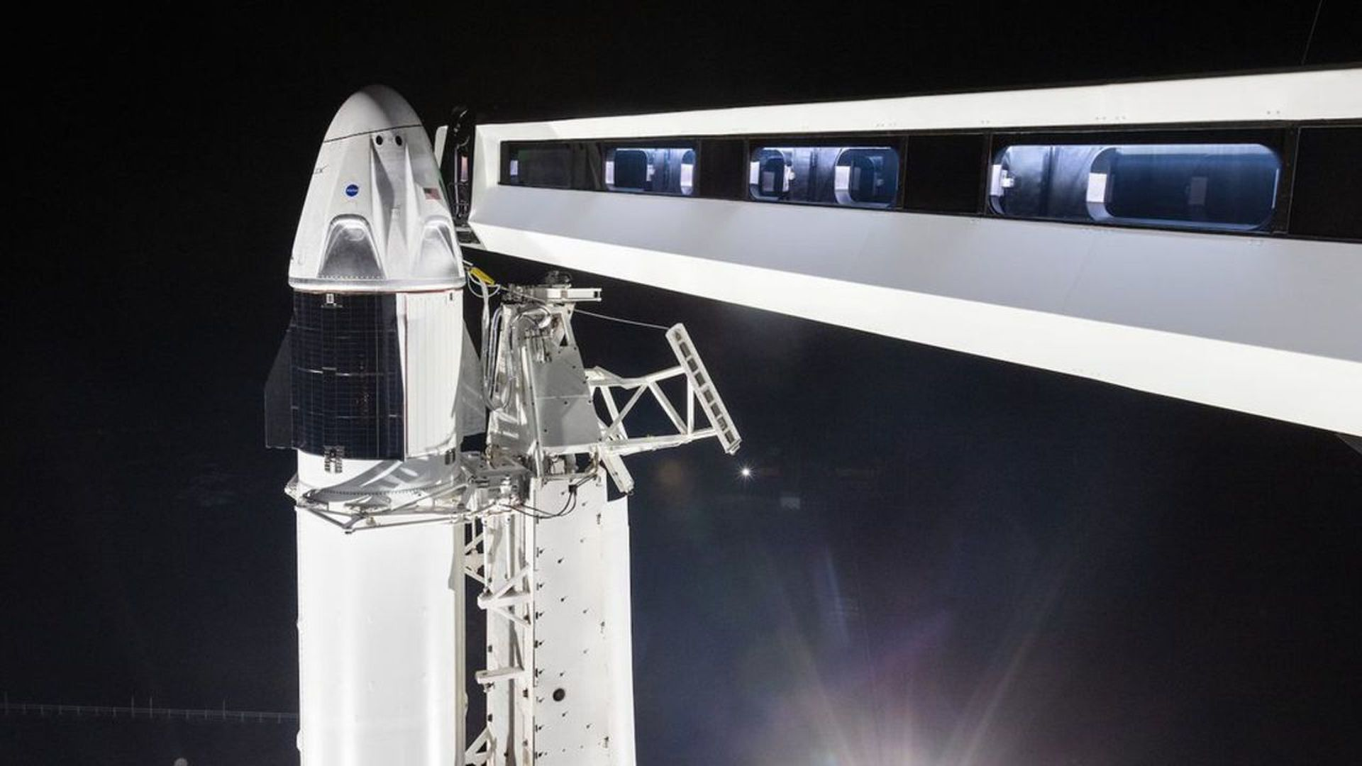 The Crew Dragon vehicle ahead of its first uncrewed launch to the ISS. Photo: SpaceX