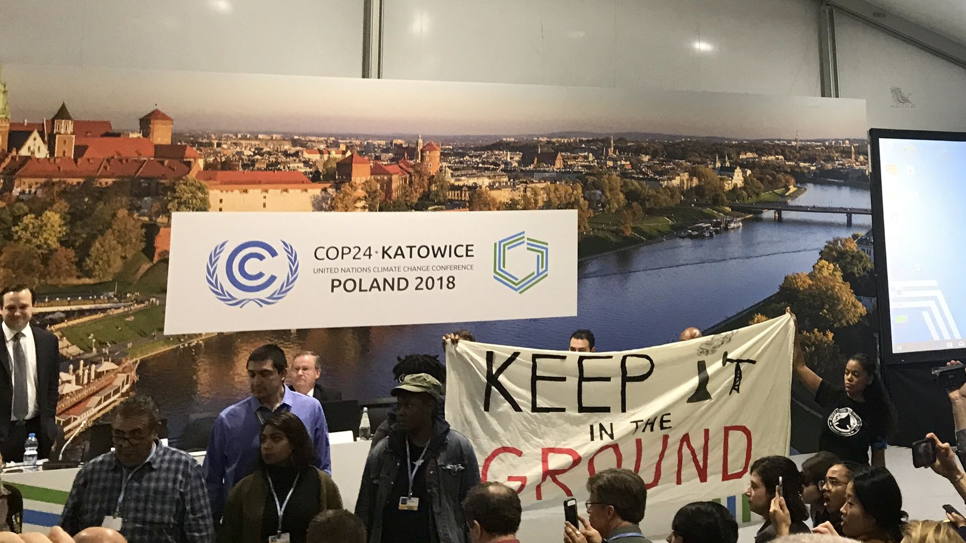 Protesters disrupt Trump administration fossil fuels event at climate conference Monday in Poland.