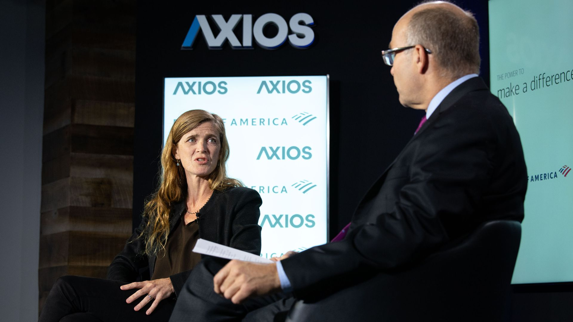 Left, Samantha Power on the Axios stage, with Mike Allen, right.