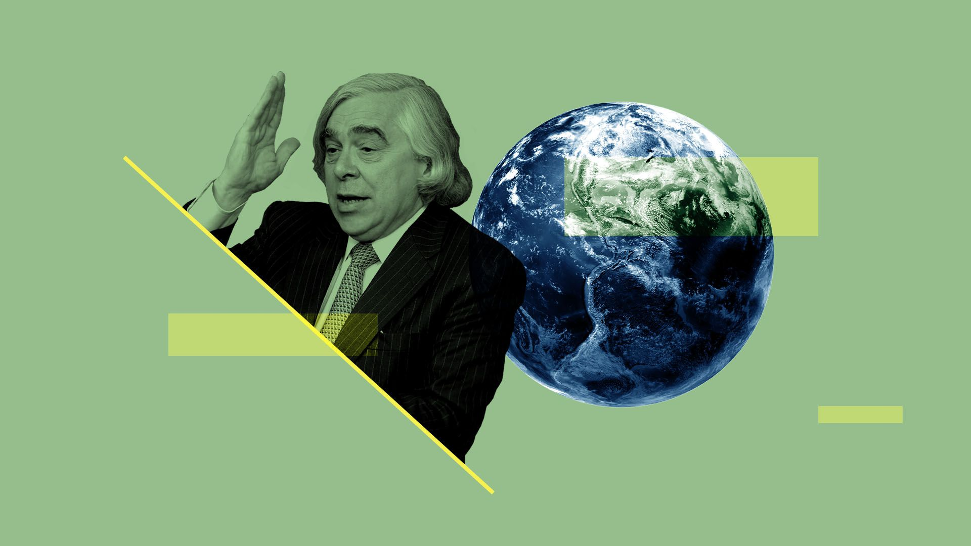Illustrated collage Ernest Moniz and the planet earth
