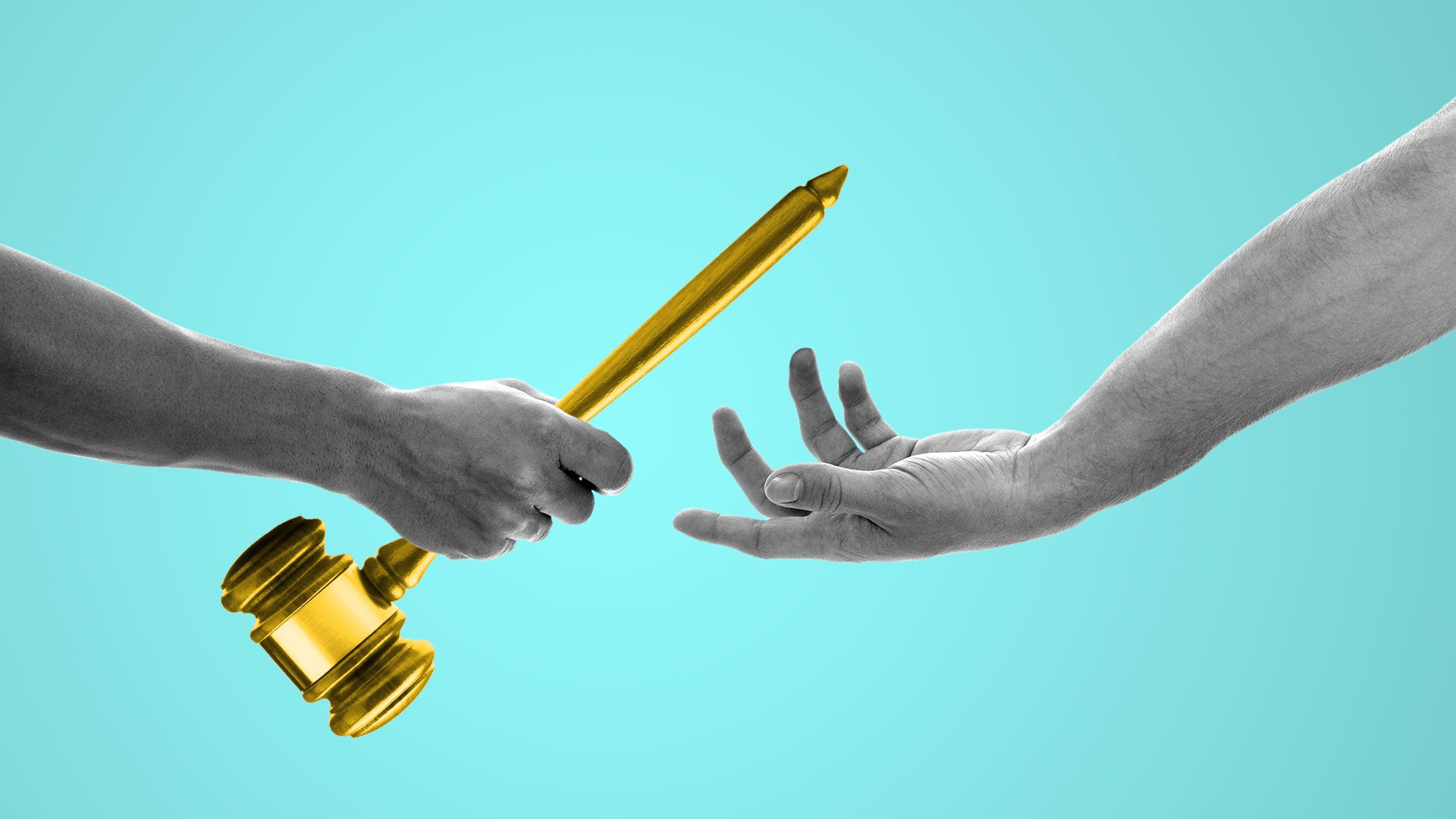 Illustration of two hands passing off a judge's gavel as if it were a baton.