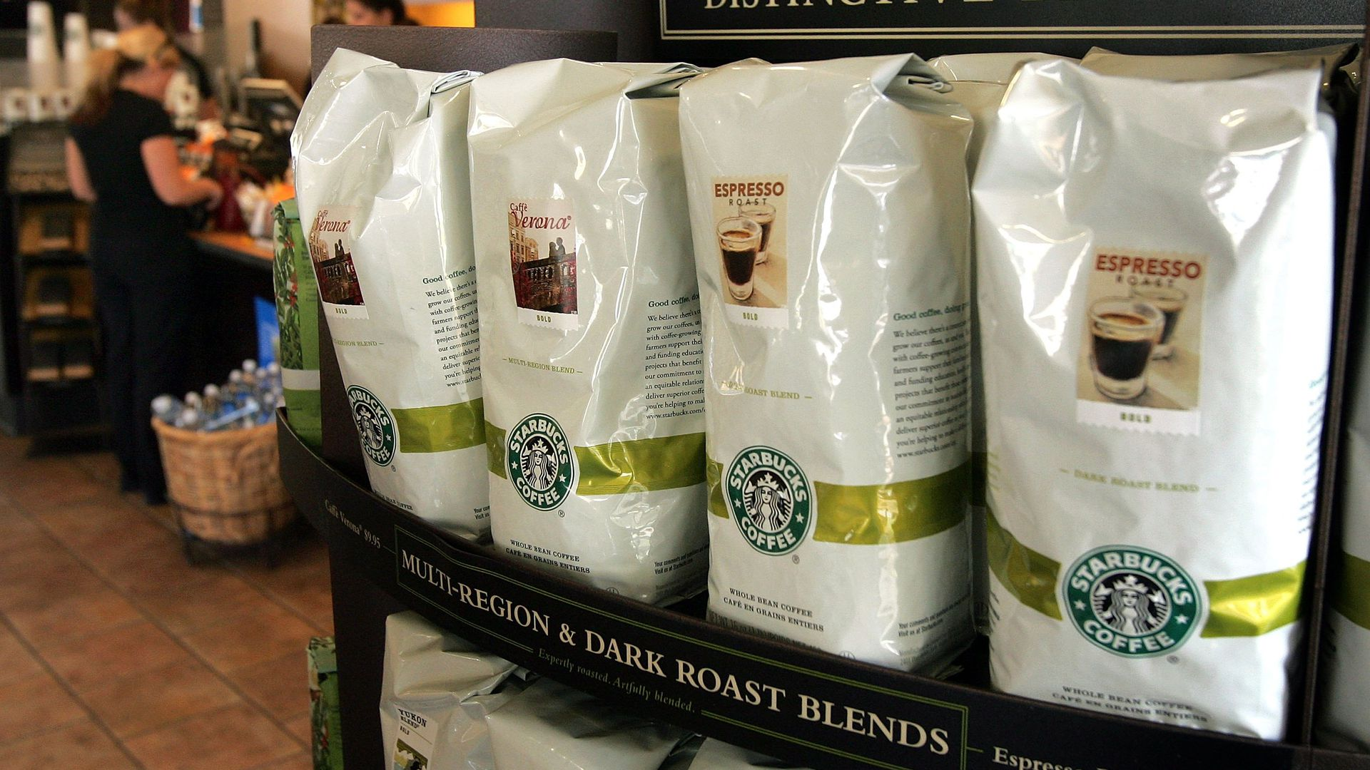 Starbucks coffee beans in bags