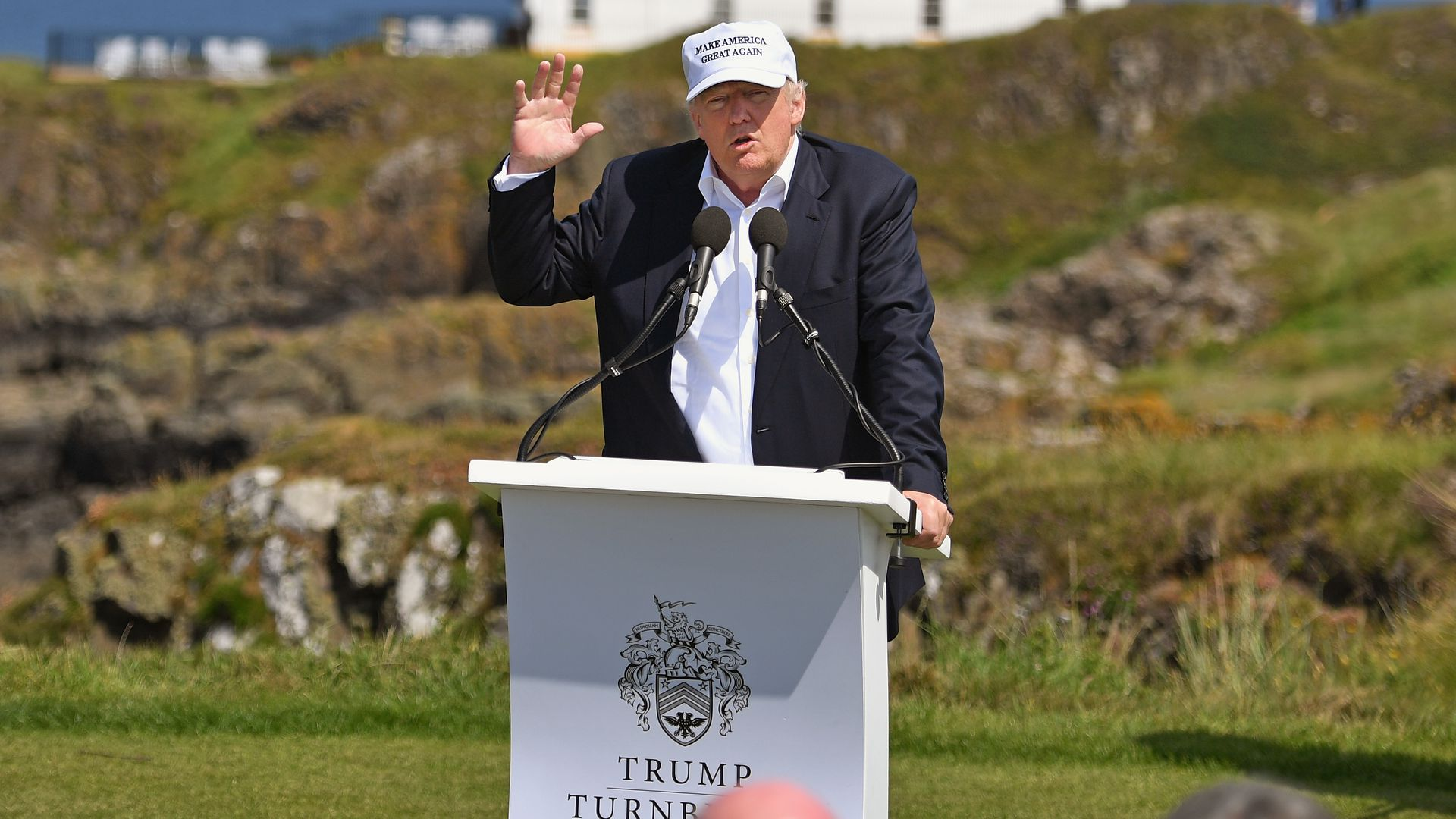 Trump talking at the resort in 2016.