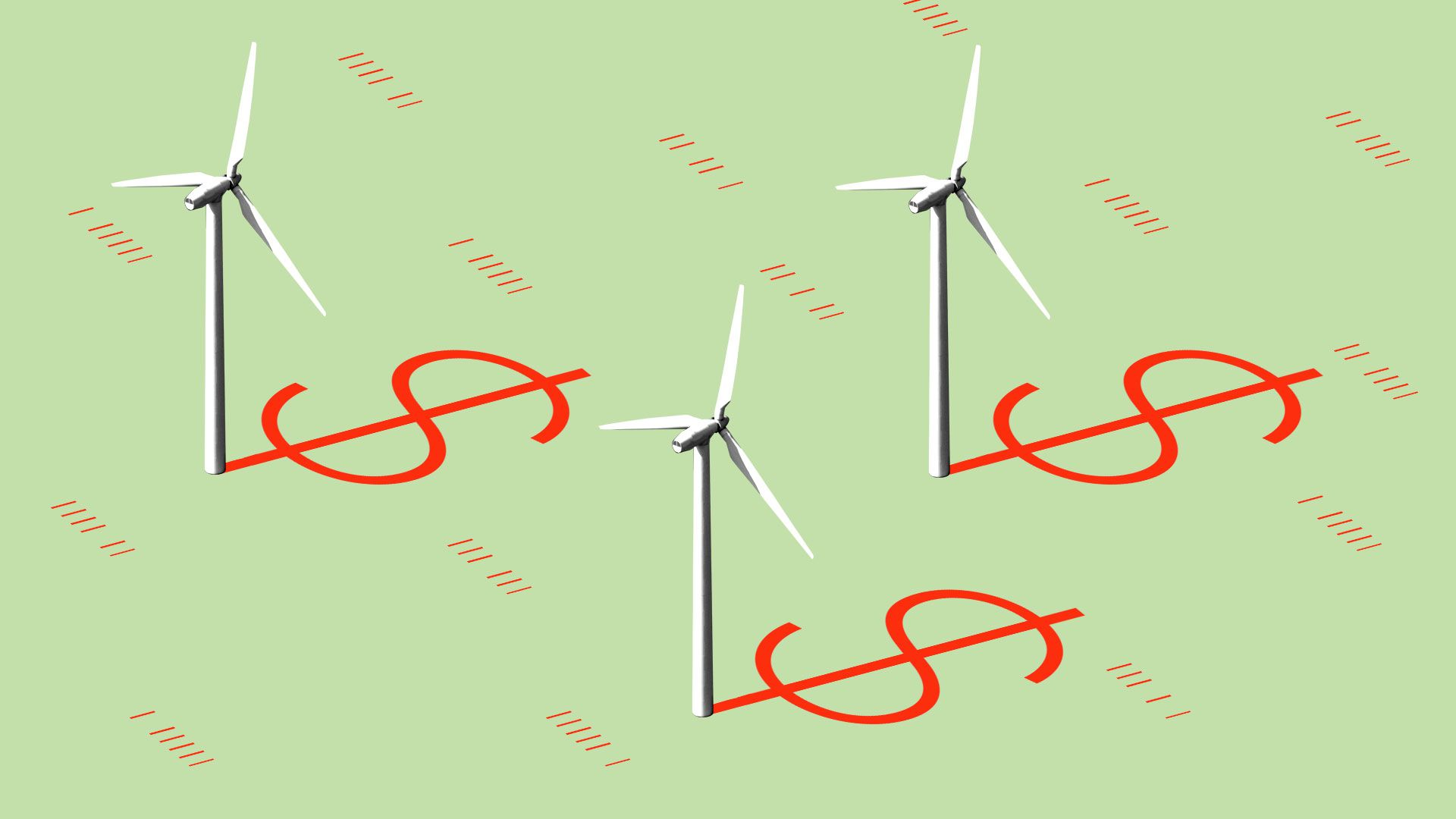 wind turbines in a field with red dollar signs on the ground