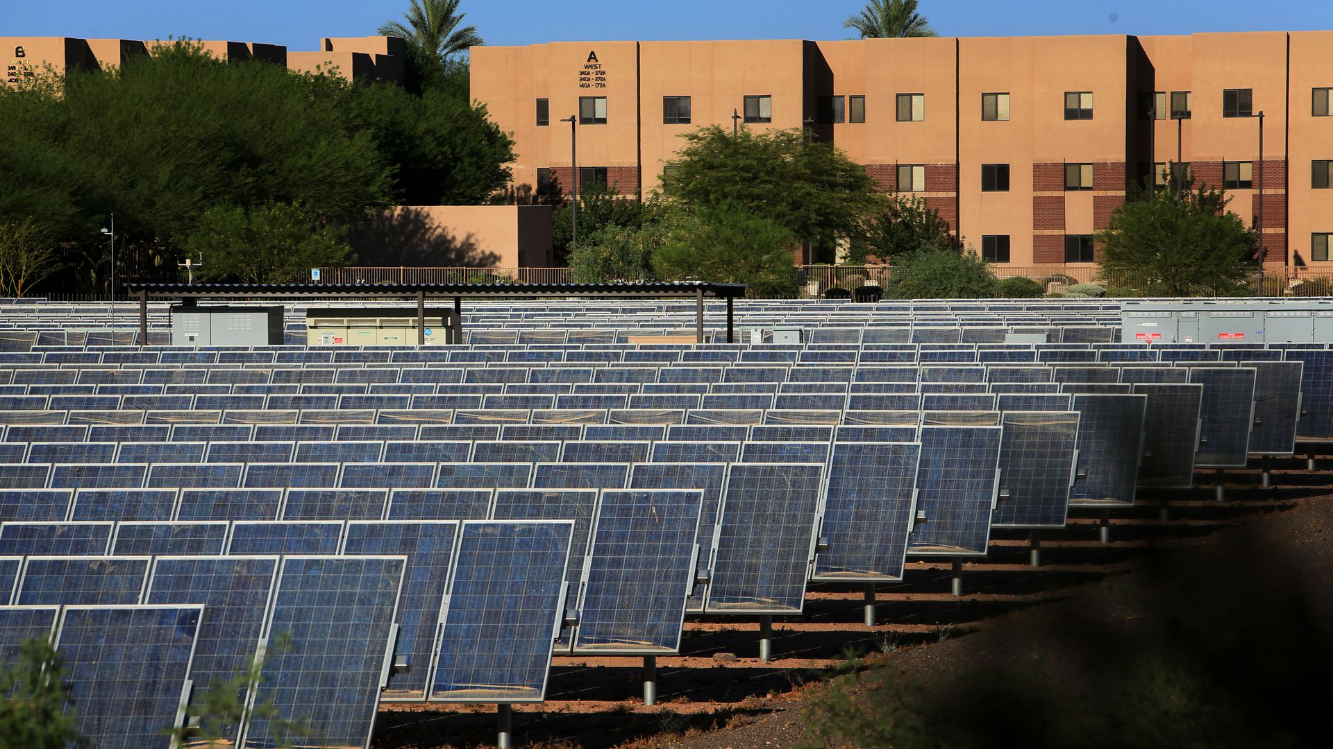 A solar farm system on the campus of Arizone State University in Phoenix, AZ on Thursday, June 20, 2013.
