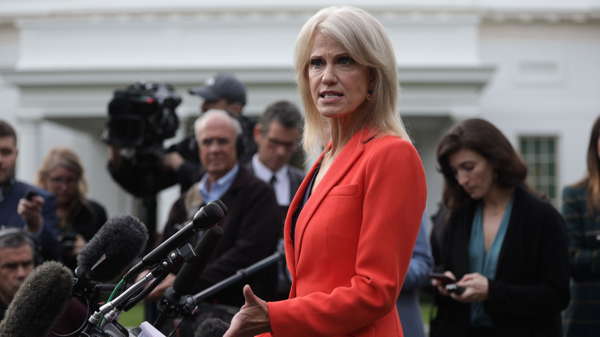 White House senior counselor Kellyanne Conway speaks to members of the media outside the West Wing of the White House October 25, 2019 in Washington, DC.