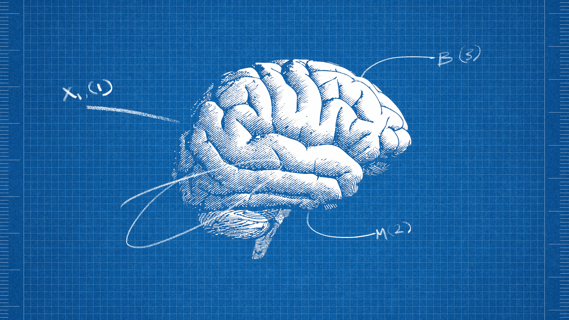 Illustration of brain with letters of DNA coding arising off of it