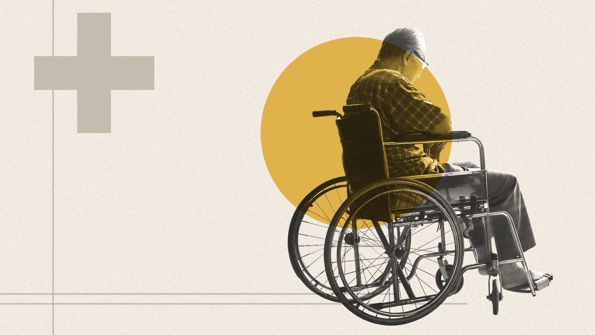 Illustration of a man in a wheelchair with a red cross symbol to his left
