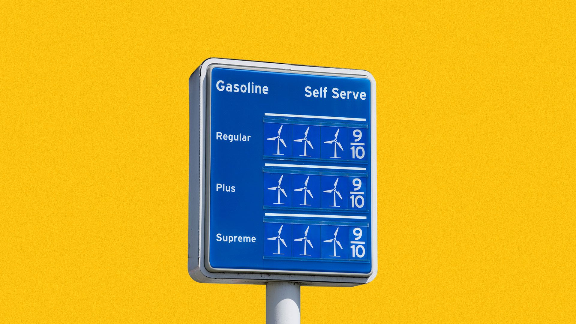 Illustration of a gas sign where the numbers are replaced with wind turbines.