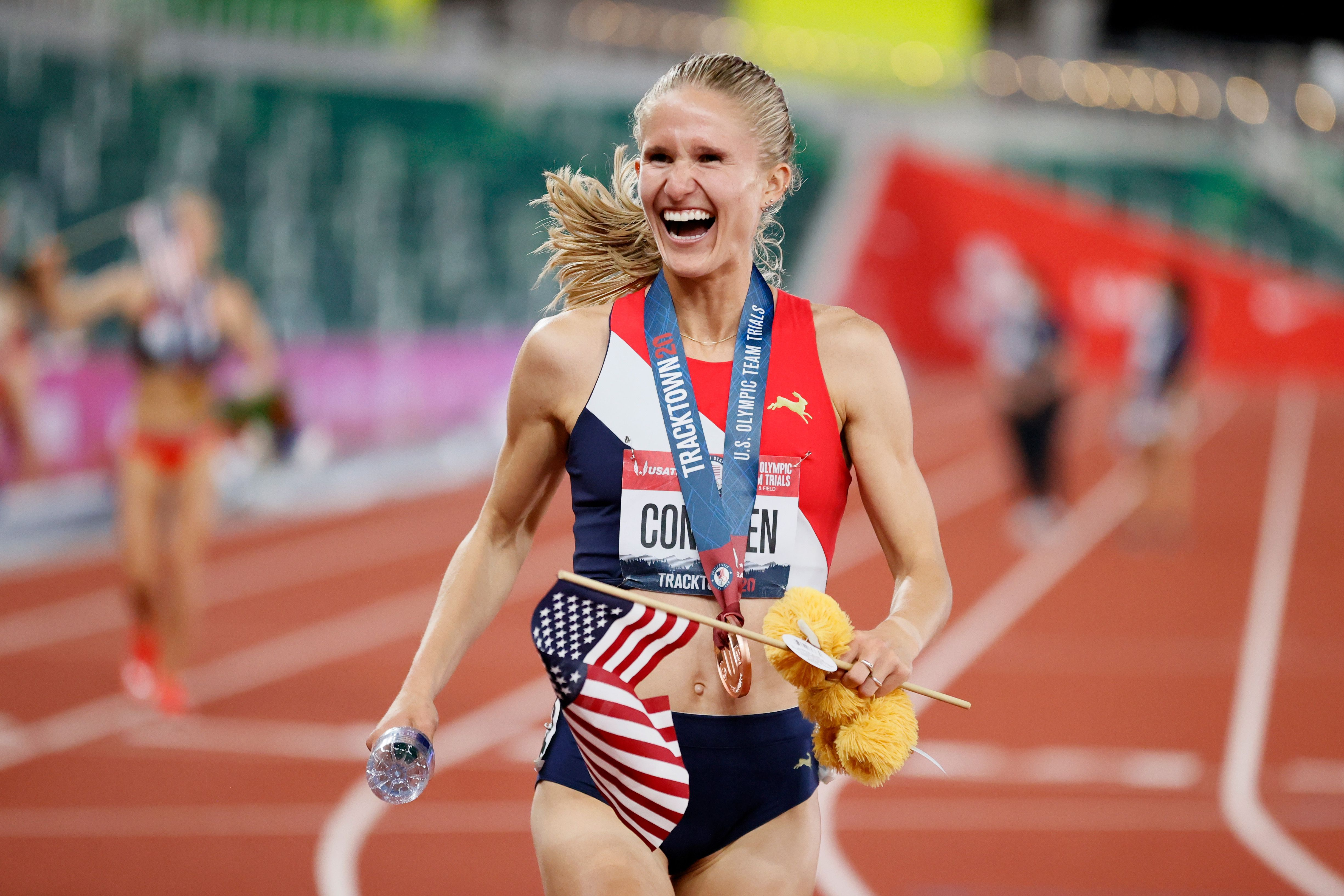 Val Constien reacts after competing in June in the U.S. Olympic trials in Oregon. Photo: Steph Chambers/Getty Images