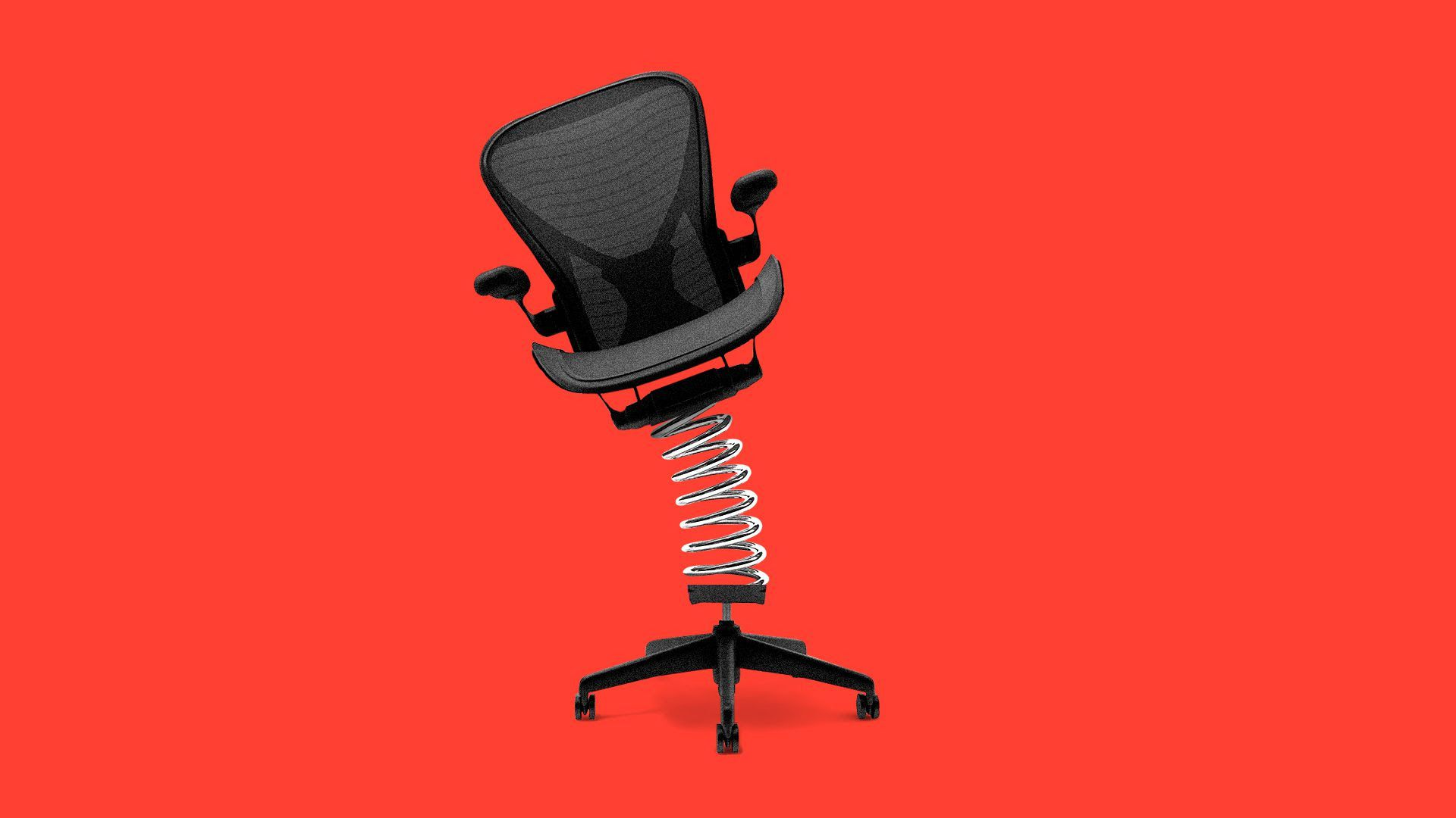 An illustration of a desk chair with springs on the seat in front of a red background.