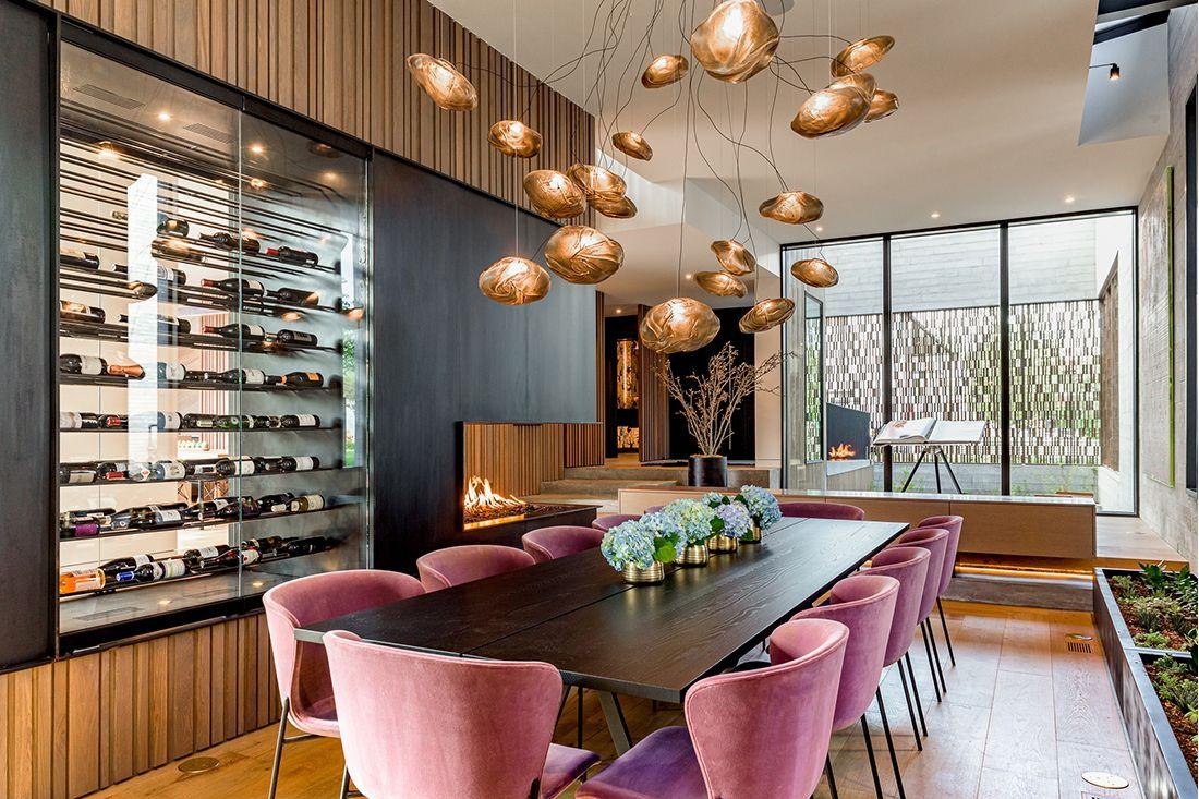 2610 East Cedar Ave wine wall dining room