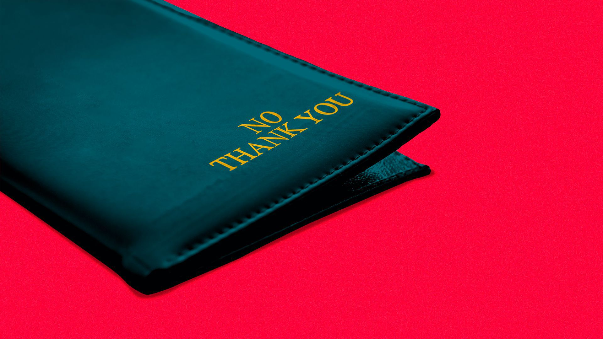 """Illustration of a restaurant bill holder with the words """"no thank you"""" on it."""