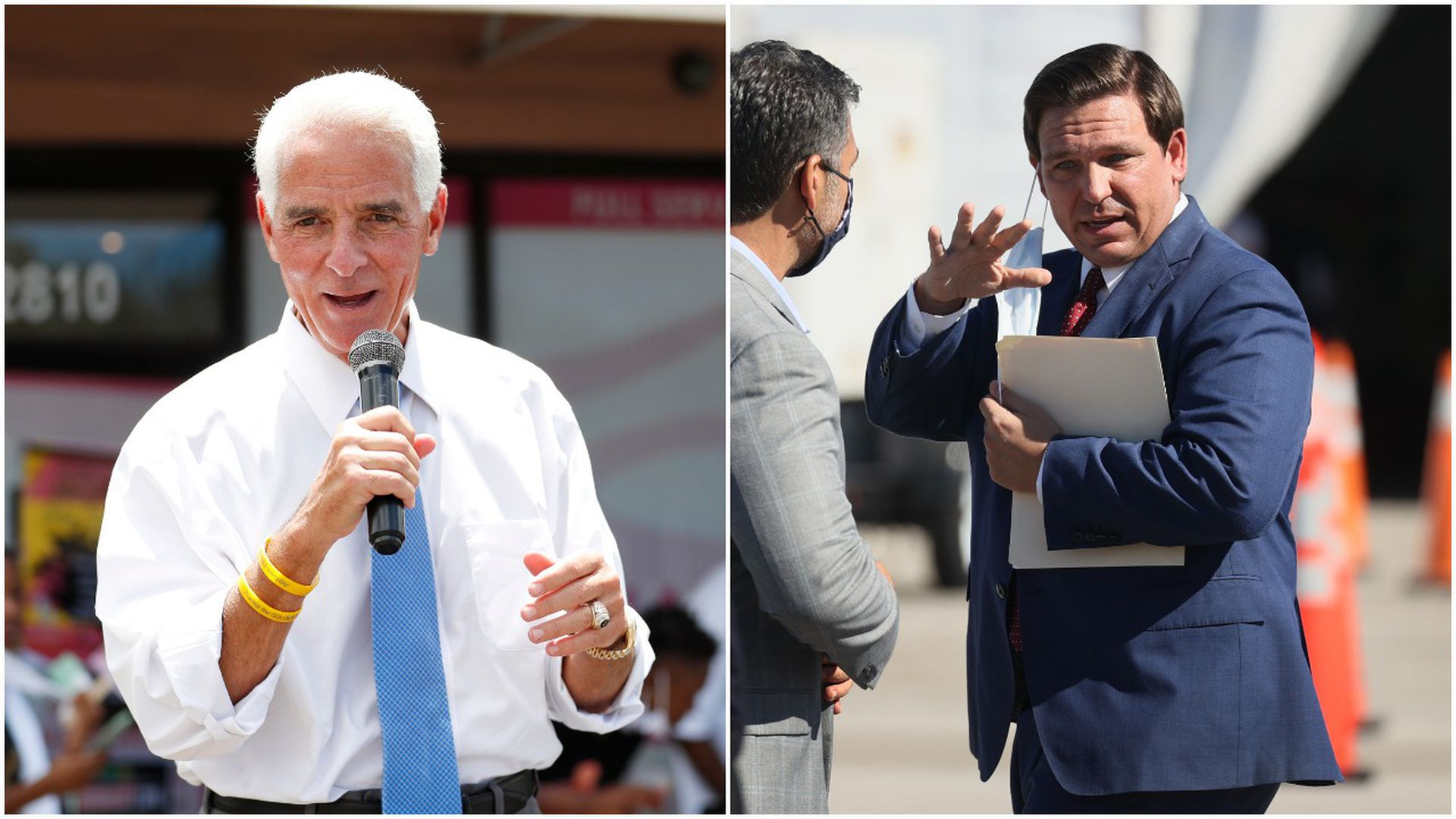 Collage picture with Rep. Charlie Crist on the left and Florida Gov. Ron DeSantis on the right
