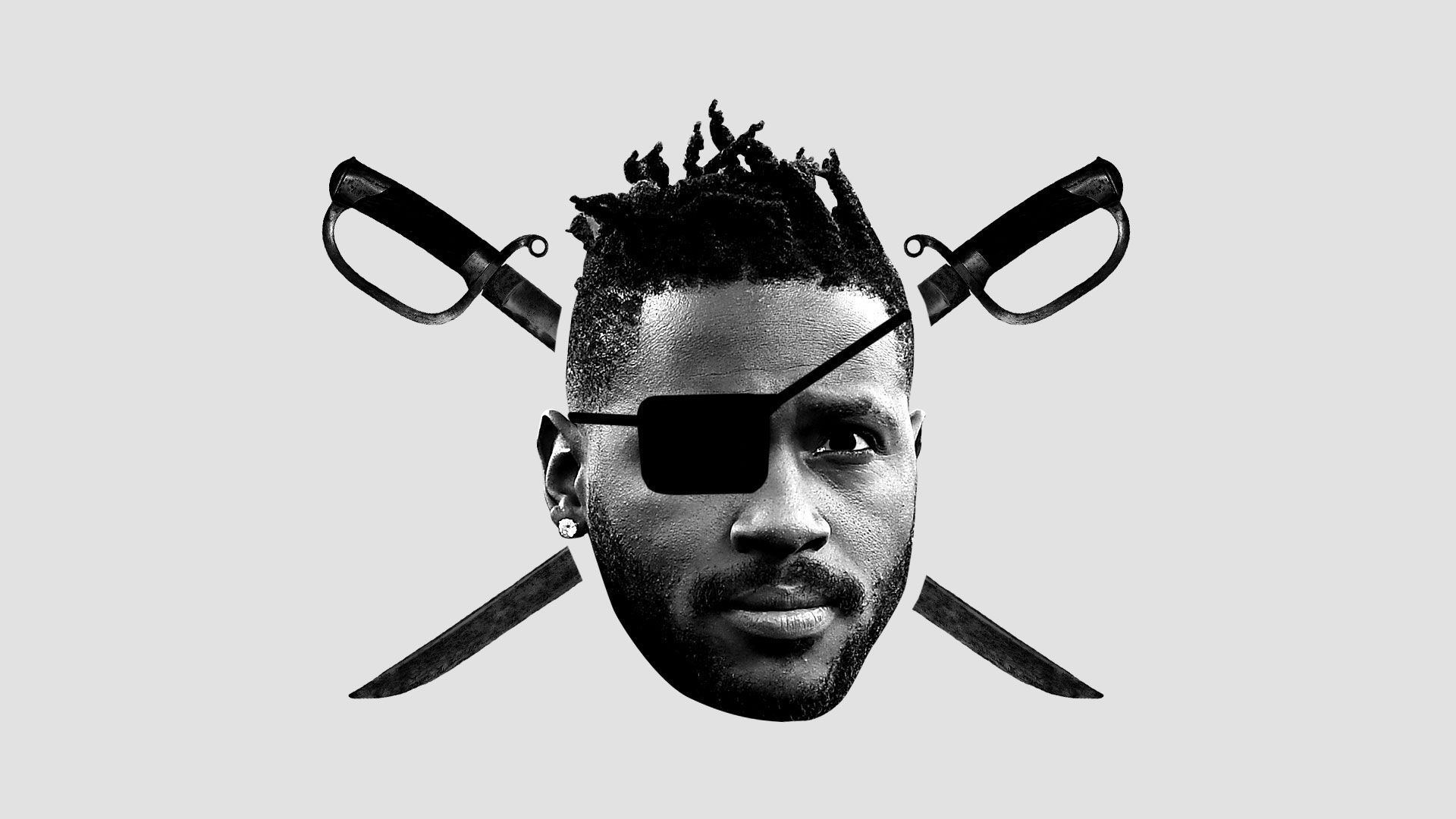 Antonio Brown as the man in the Raider's logo