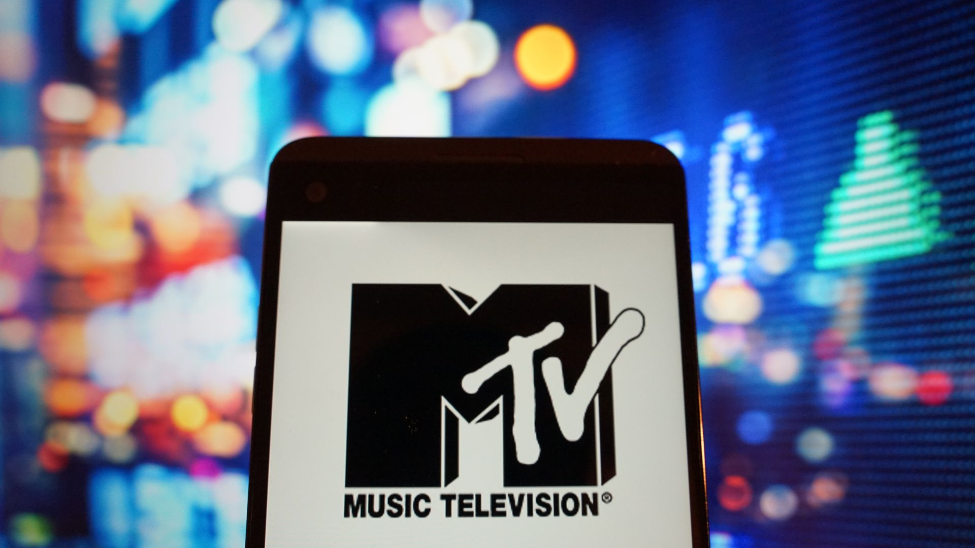 MTV logo on a phone screen
