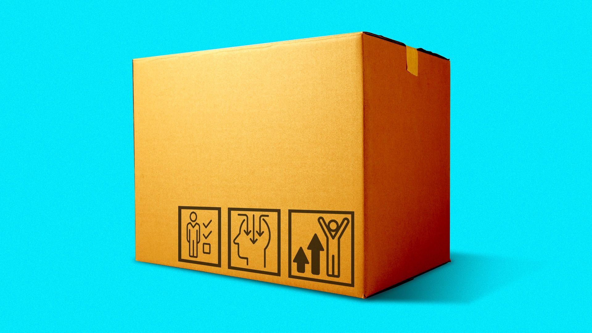 Illustration of a cardboard delivery box with icons related to improving worker skills on the side