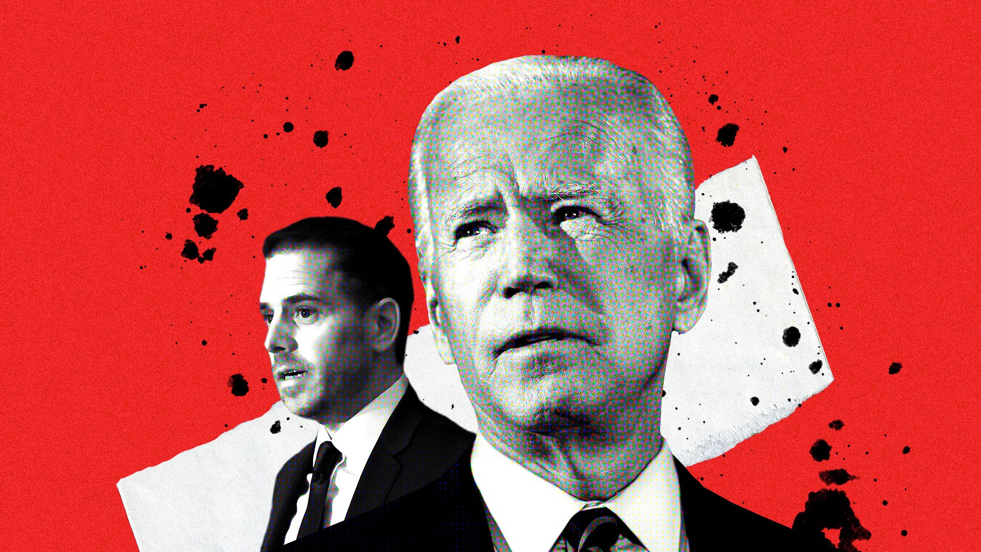 Photo illustration of of Joe and Hunter Biden.