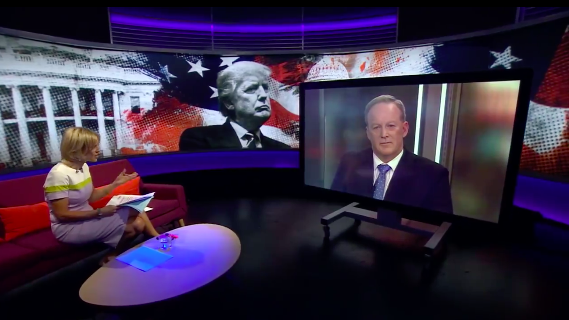 BBC's Emily Maitlis interviewing Sean Spicer via satellite.