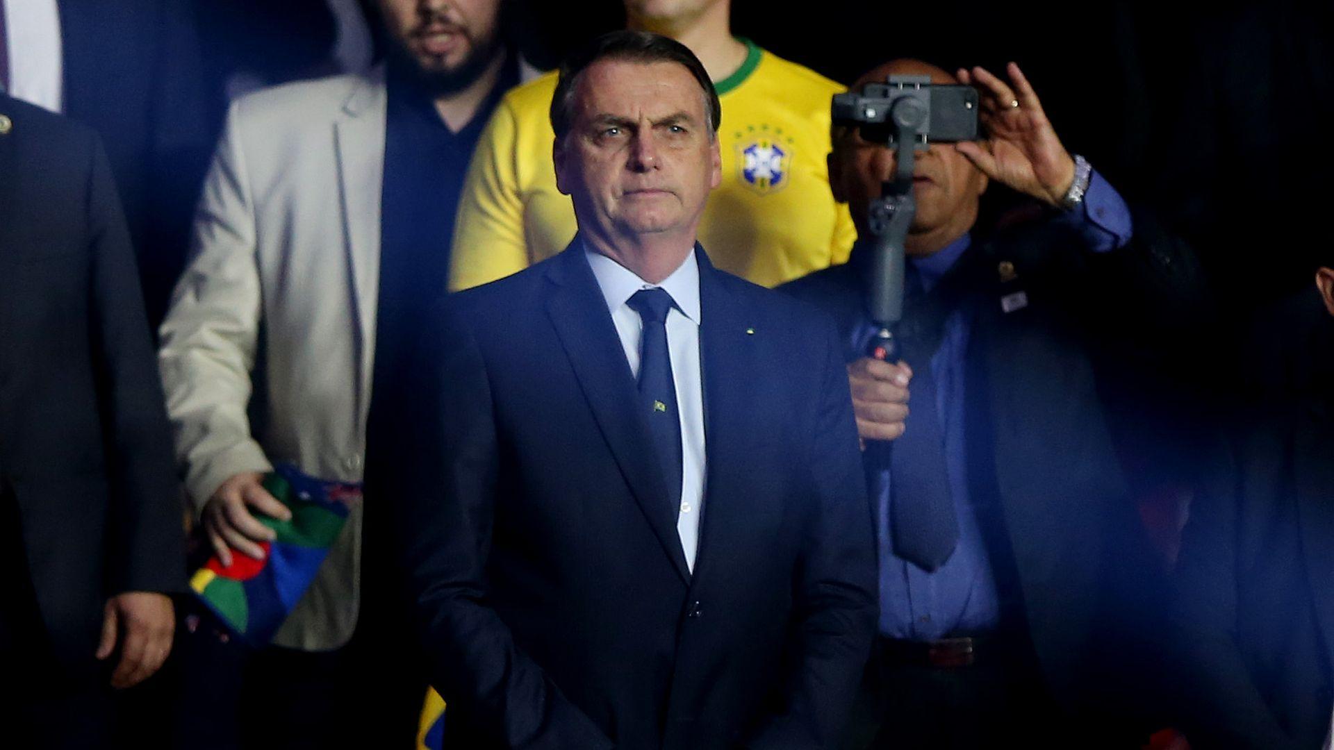 President of Brazil Jair Bolsonaro looks on during the Copa America Brazil 2019 Opening Ceremony on June 14, 2019 in Sao Paulo, Brazil.