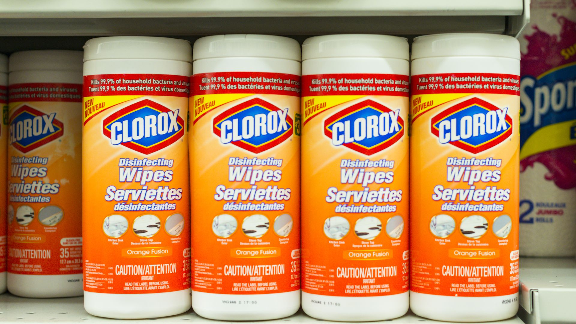 Bottles of Clorox disinfectant wipes.
