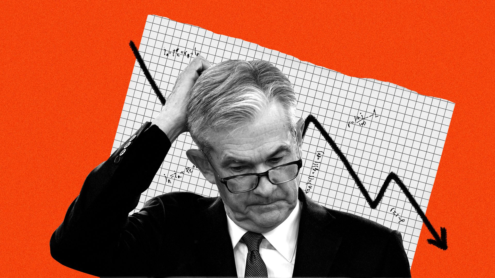 Illustrated collage of Jerome Powell and a negative trending interest rate line surrounded by interest rate formulas.