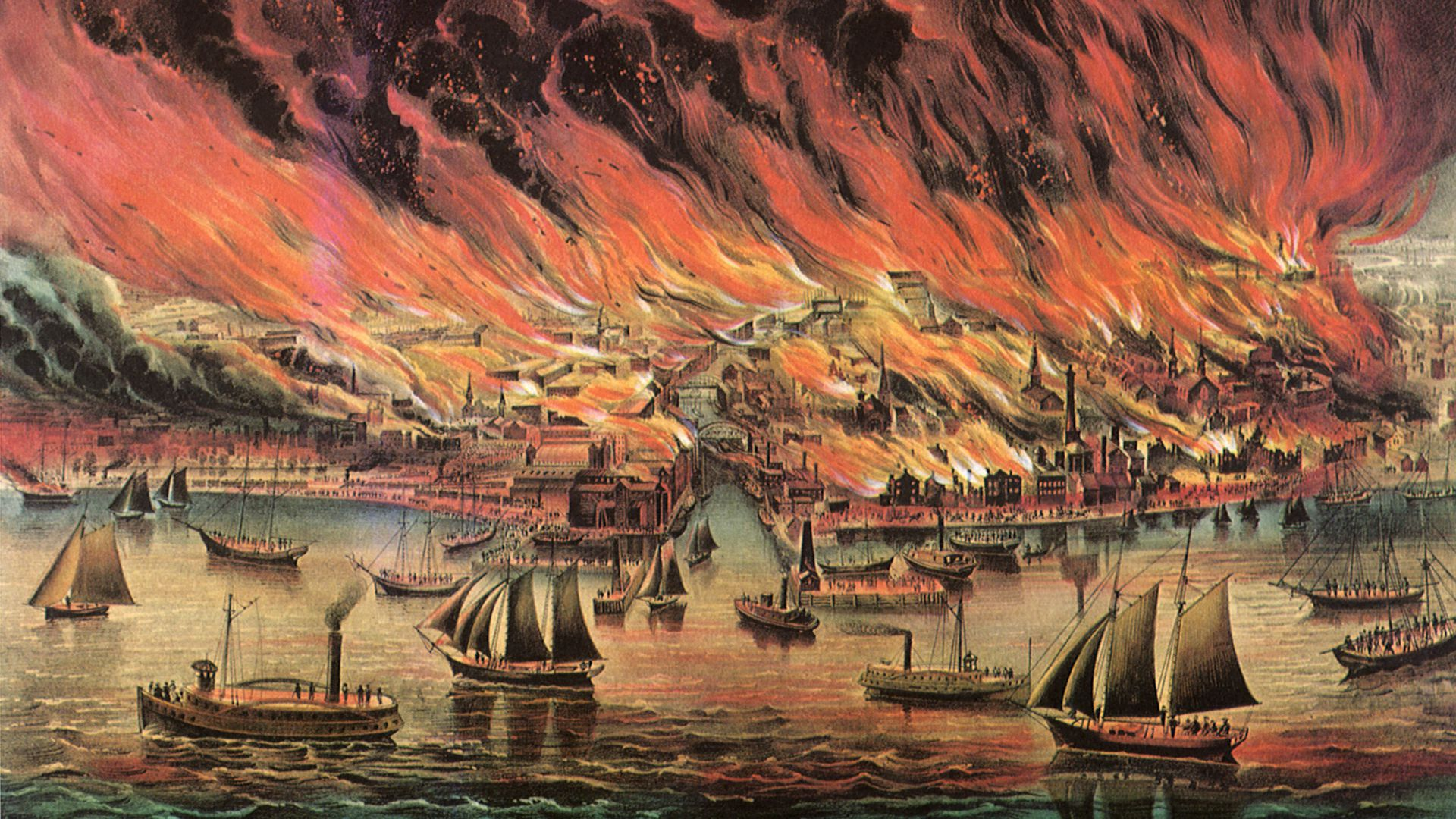 Painting of the city of fire.
