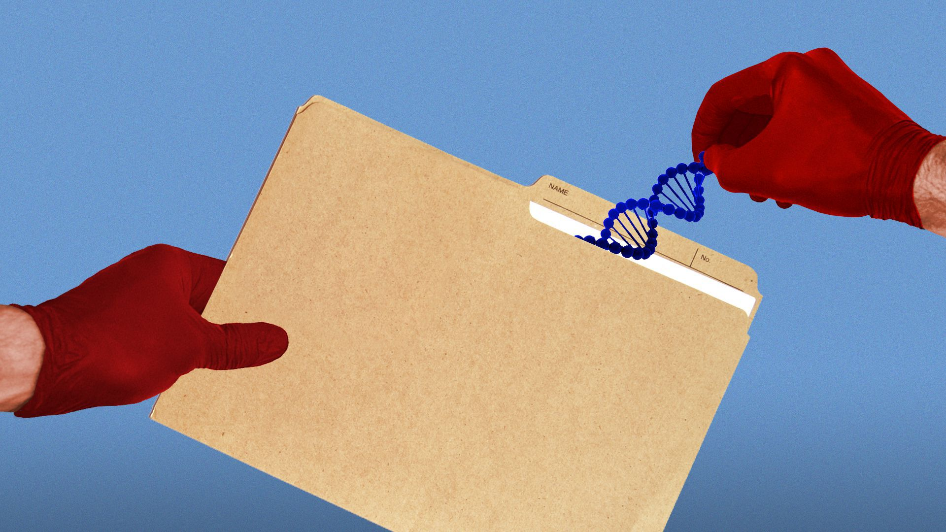 Illustration of hands with medical gloves placing a DNA strand in a folder