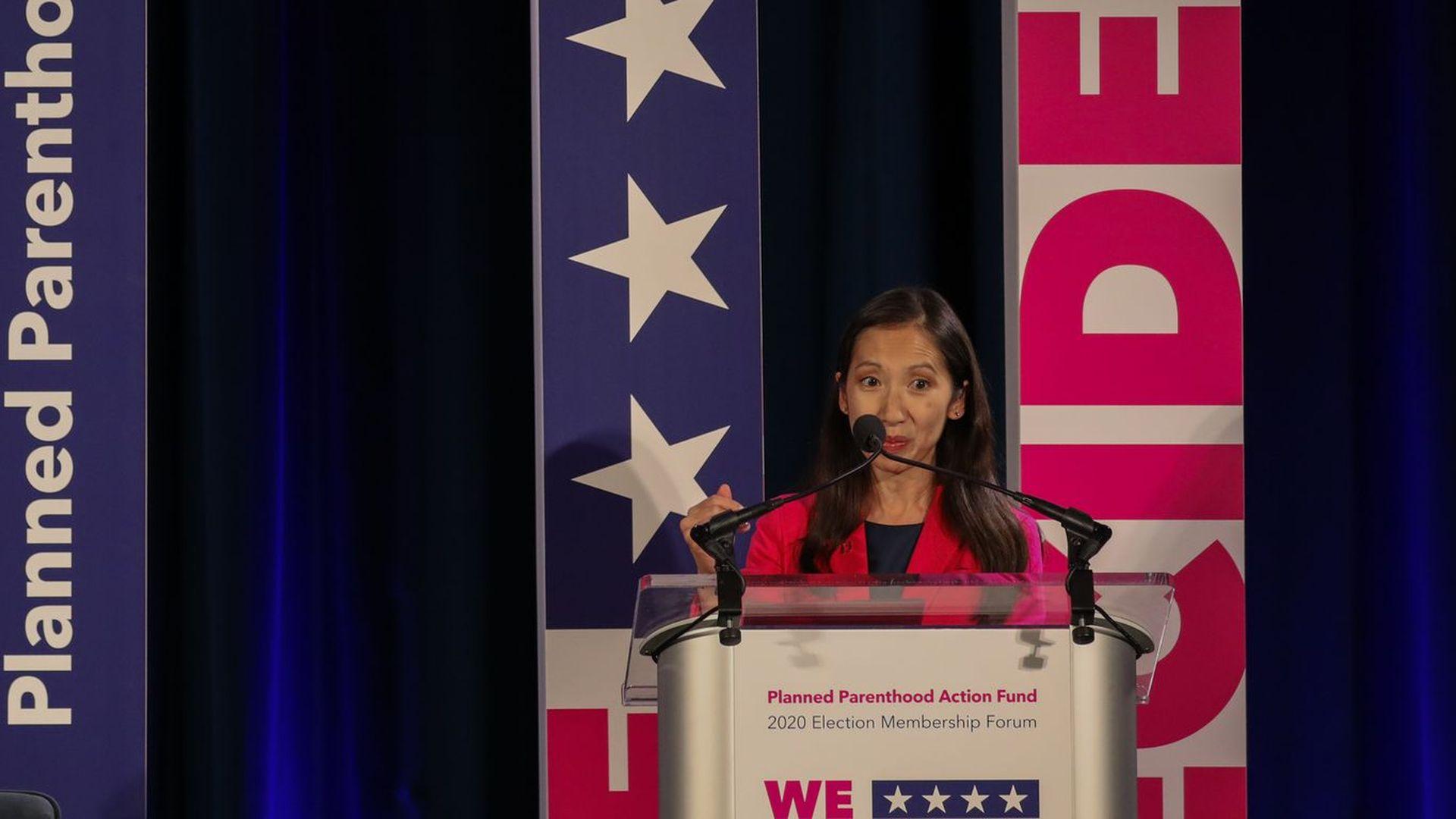Leana Wen makes a speech